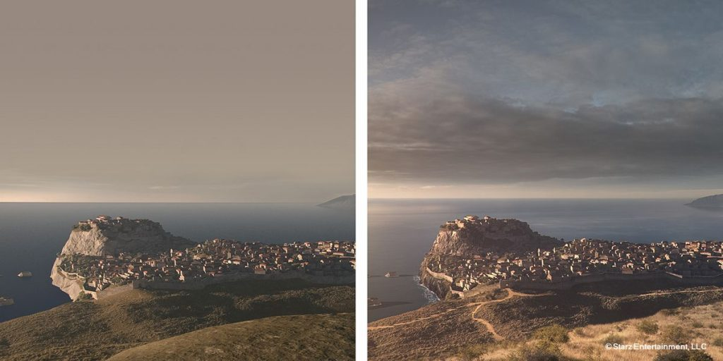 a. Vue render - b. Matte painting Day version.