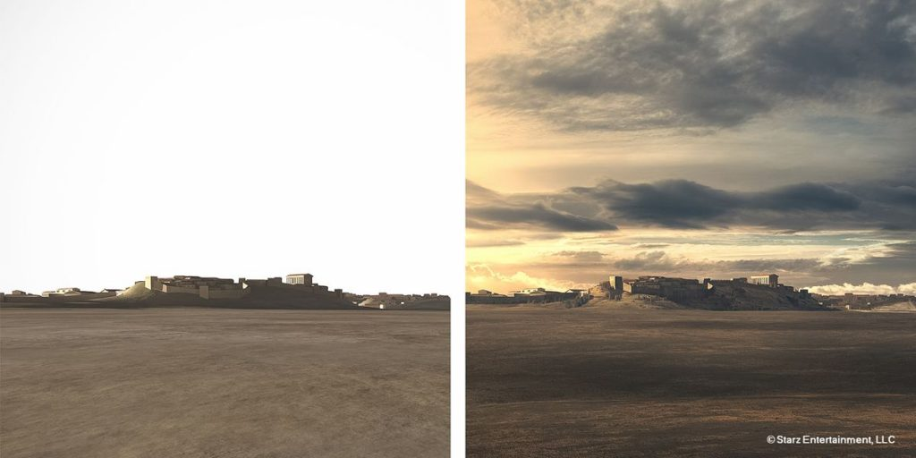 This matte-painting was created to show the city of Rome viewed from the field of Mars where Crassus army is prepared to fight the rebellion of Roman slaves under the leadership of Spartacus. On the left, the Vue render and on the right, the final matte painting.