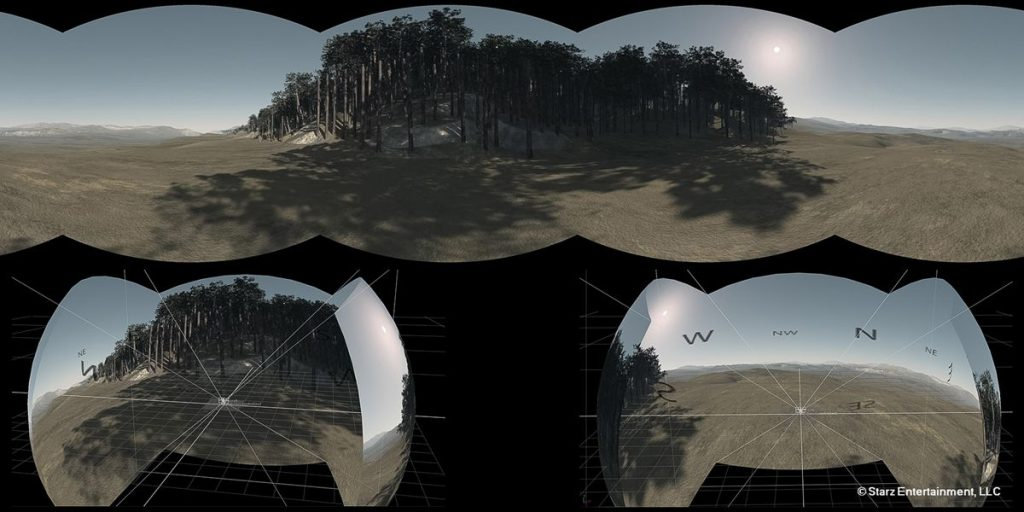 This image shows a 4 pack cameras render from Vue, converted into a latlong and projected onto a sphere in Nuke.