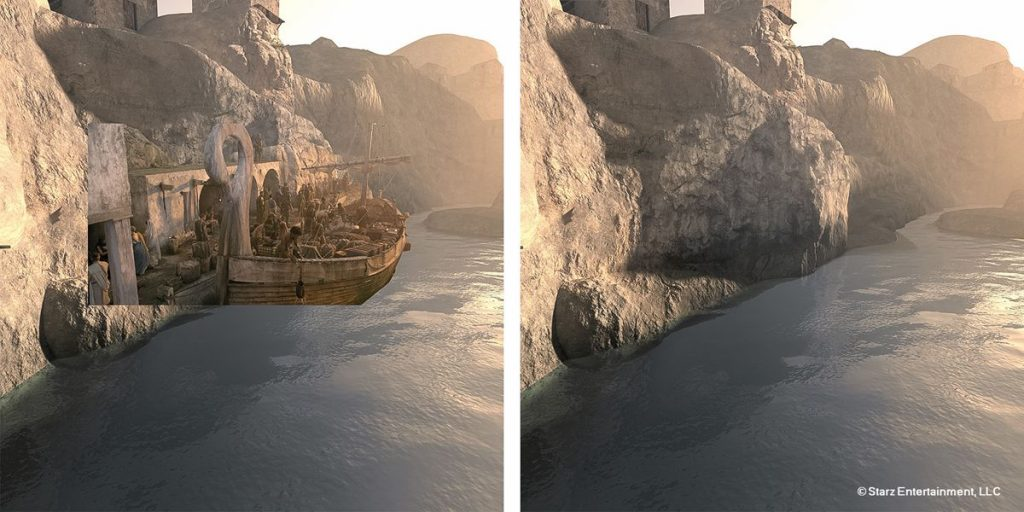 This shot shows the integration of a specific matte-painting of the Sinuessa Harbor cliff face. The initial render was done in Vue and then painted to match the set.